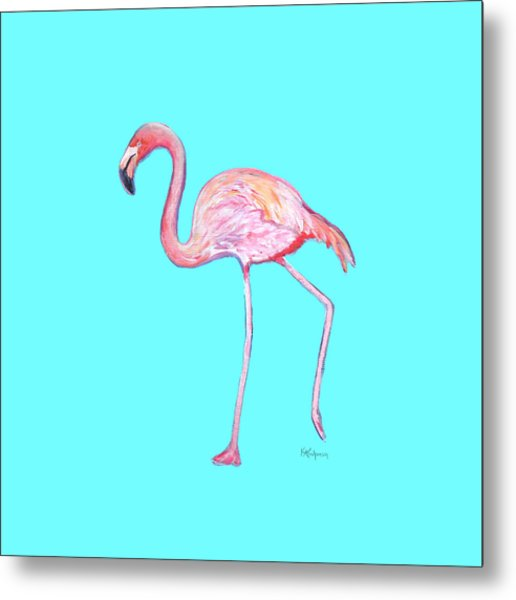 Flamingo On Blue Metal Print