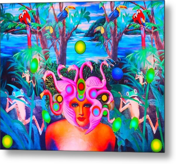 Flamingodeusa In The Neon Jungle Metal Print