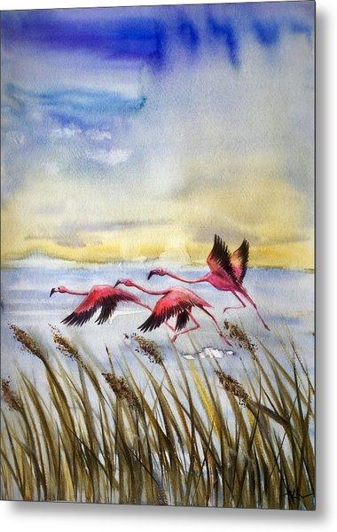 Flamingoes Flight Metal Print