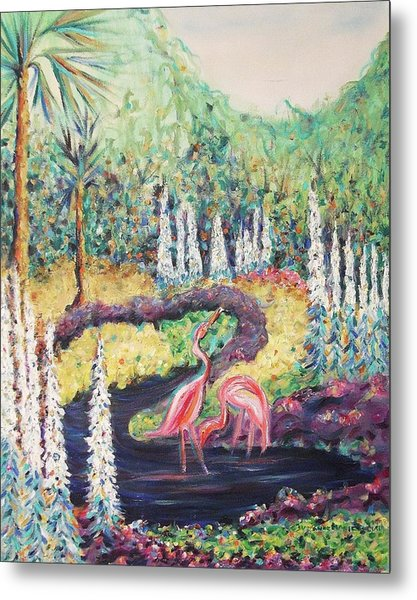 Flamingo's In Florida Metal Print by Suzanne  Marie Leclair