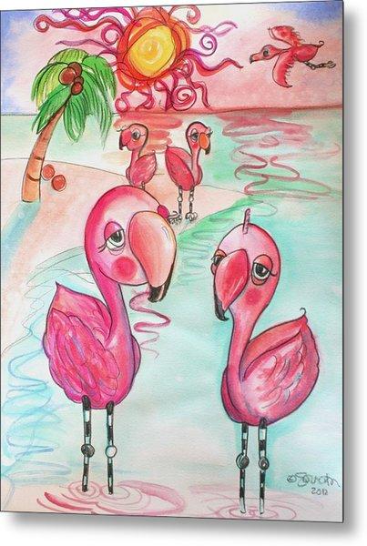 Flamingos In The Sun Metal Print
