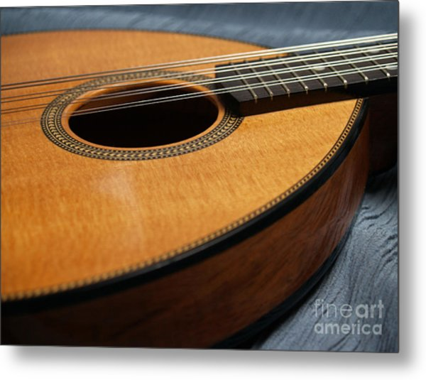 Flatiron Mandolin On Blue Metal Print
