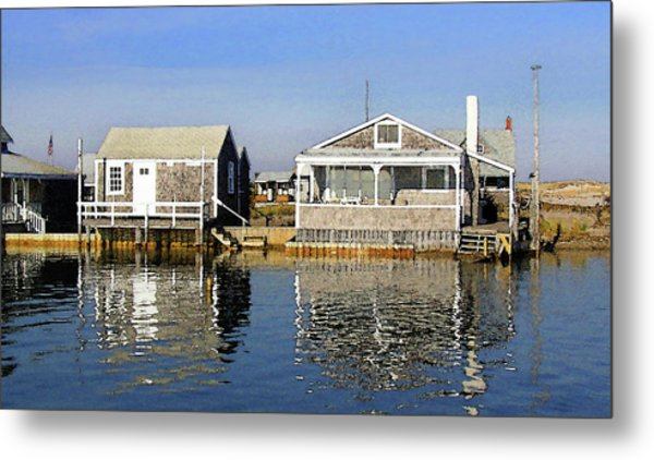 Fletchers Camp And The Little House Sandy Neck Metal Print