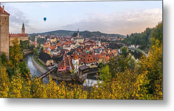 Flight Over The Medieval Town Metal Print