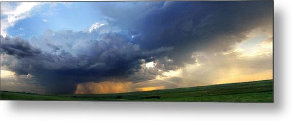 Flint Hills Storm Panorama 2 Metal Print
