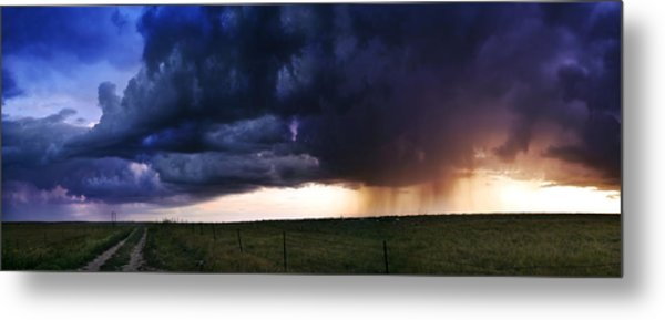 Flint Hills Storm Panorama  Metal Print