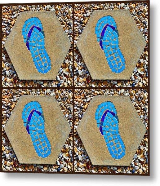 Flip Flop Square Collage Metal Print