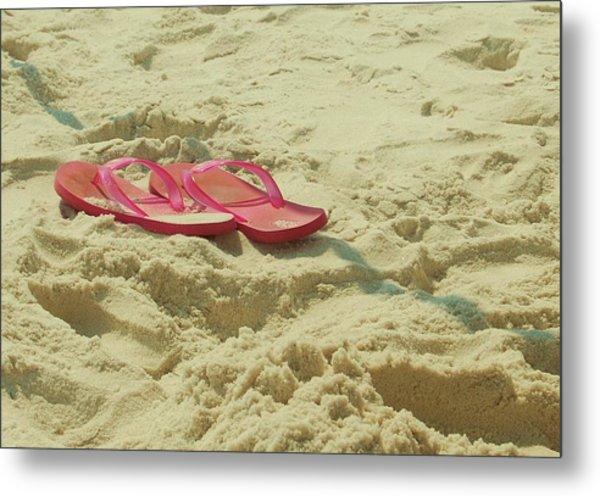 Flip Flops In The Sand Metal Print by Beverly Hammond