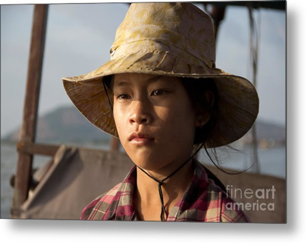 Floating Drink Seller Girl On The Tonle  Sap Lake In Cambodia Metal Print