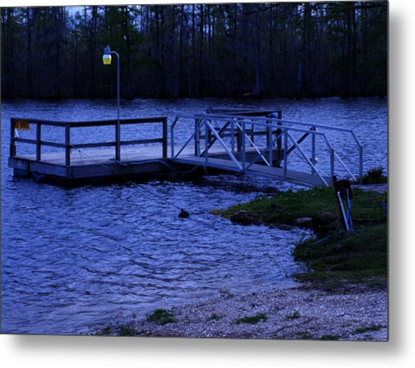Floating Fishing Boat Dock Metal Print by Bill Perry