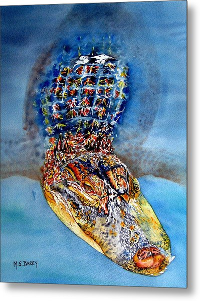 Floating Gator Metal Print by Maria Barry