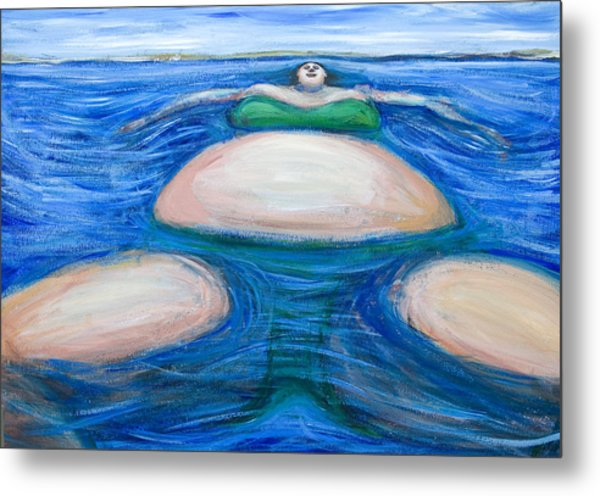 Floating Giant Fat Woman In Her Favorite Green Bikini Metal Print by Kazuya Akimoto