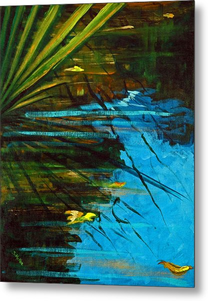 Floating Gold On Reflected Blue Metal Print