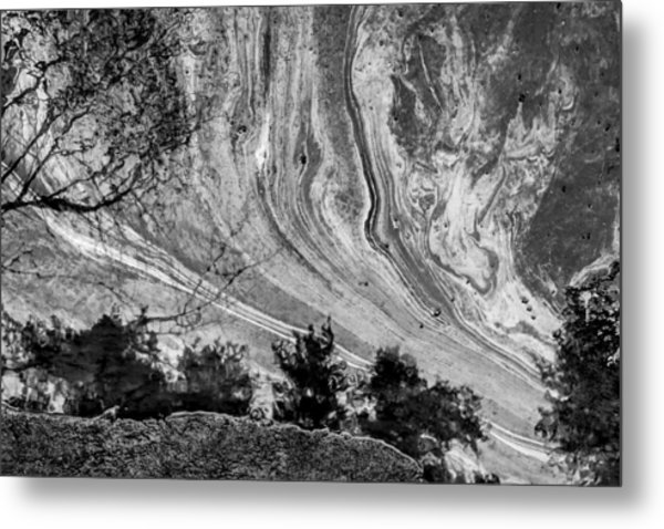 Floating Oil Spill On Water Metal Print