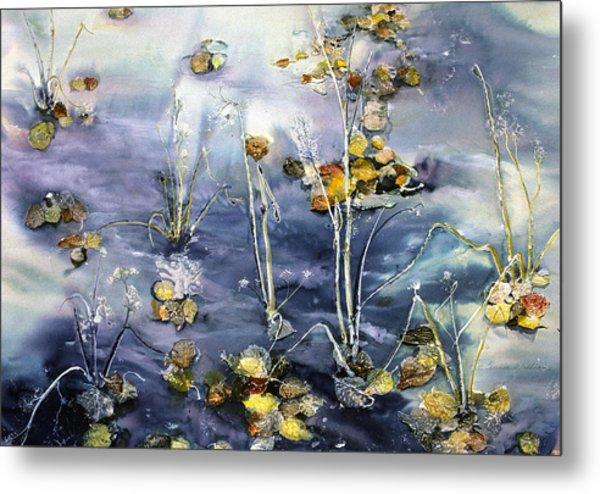Floating Pond Leaves Metal Print