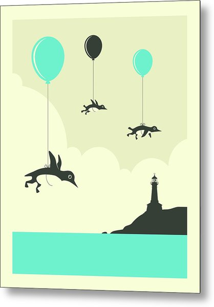 Flock Of Penguins - 1 Metal Print
