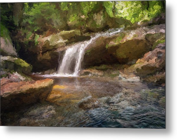 Flooded Waterfall In The Forest Metal Print