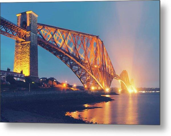 Floodlit Forth Bridge Metal Print