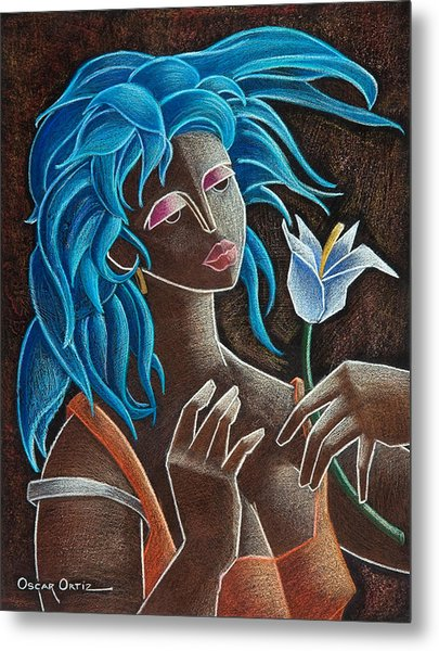 Metal Print featuring the painting Flor Y Viento by Oscar Ortiz