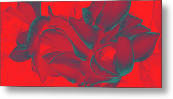 Floral Abstract In Dramatic Red Metal Print