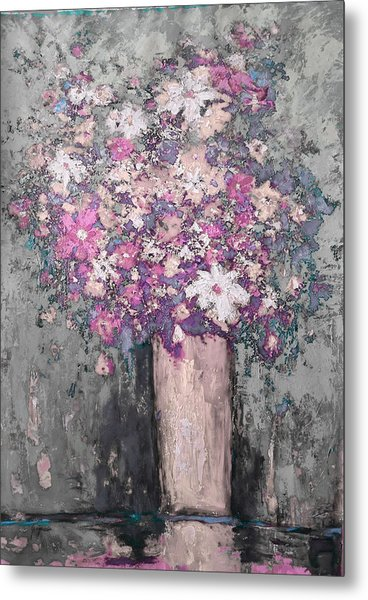 Floral Abstract - Reverse - Modern Impressionist Palette Knife Work Metal Print