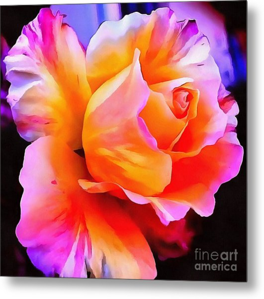 Floral Interior Design Thick Paint Metal Print