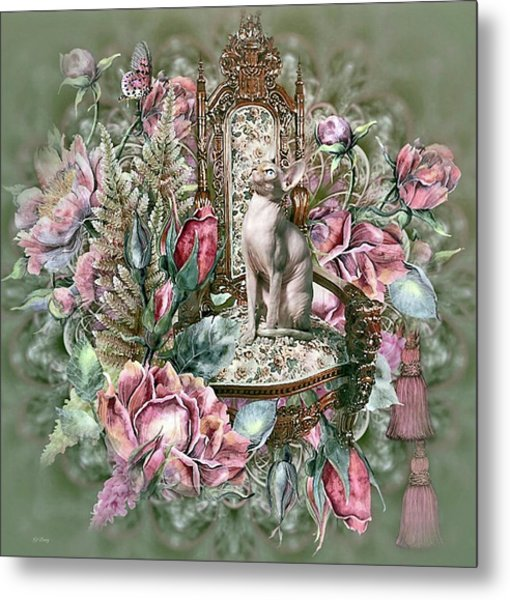Floral Kitty Chair Metal Print