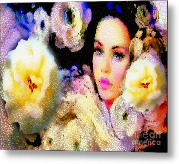 Floral Mosaic She In Thick Paint Metal Print