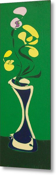Floral On Green Metal Print