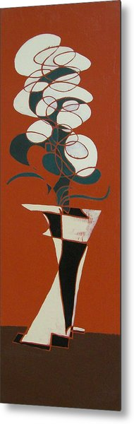 Floral On Red Metal Print