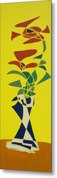 Floral On Yellow Metal Print