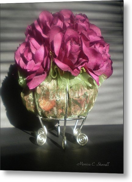 Floral Potpourri On A Silver Stand Metal Print