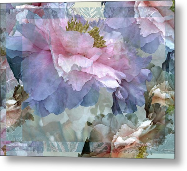Floral Potpourri With Peonies 24 Metal Print
