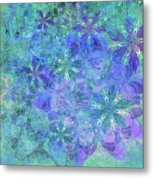 Floral Watercolor Blue Metal Print