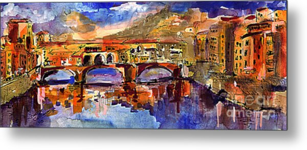 Florence Ponte Vecchio Merchant Bridge Metal Print