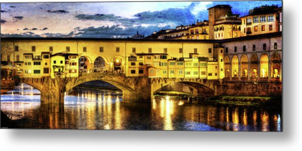Florence - Ponte Vecchio Sunset From The Oltrarno - Vintage Version Metal Print