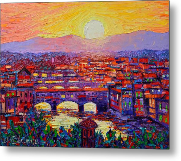 Florence Sunset Over Ponte Vecchio Abstract Impressionist Knife Oil Painting By Ana Maria Edulescu Metal Print