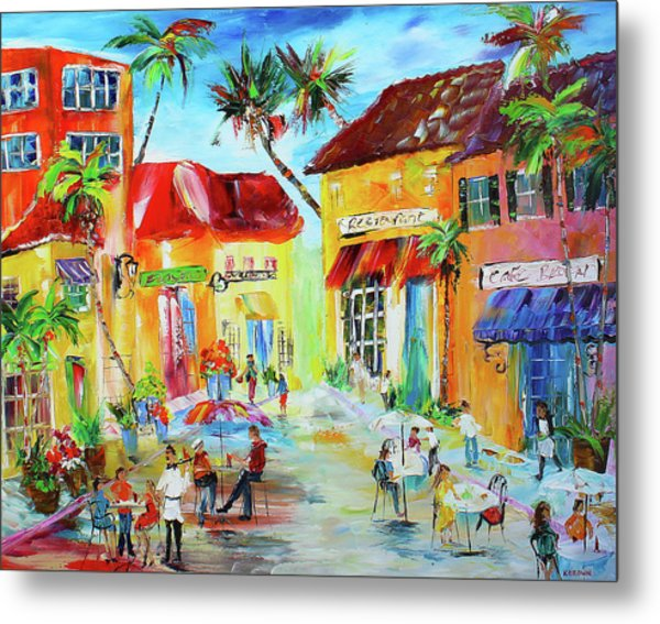 Metal Print featuring the painting Florida Cafe by Kevin Brown