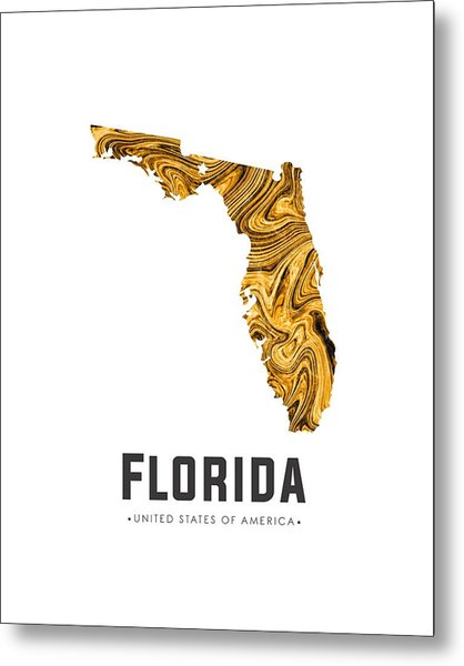 Florida Map Art Abstract In Yellow Gold Metal Print
