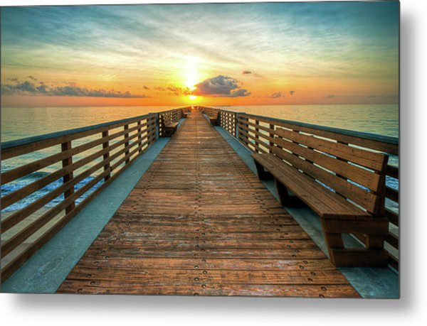 Florida Pier Sunrise Metal Print