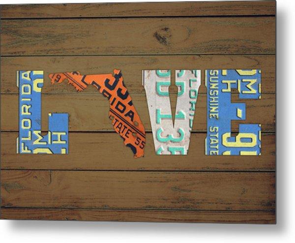 Florida State Love Heart License Plates Art Phrase Metal Print