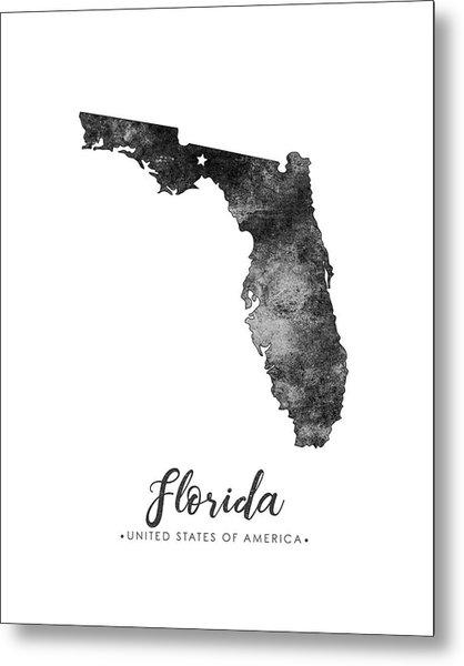 Florida State Map Art - Grunge Silhouette Metal Print