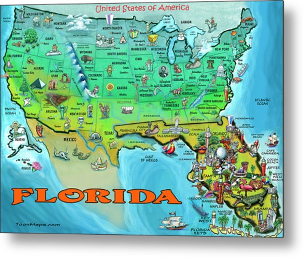 Florida Usa Cartoon Map Metal Print