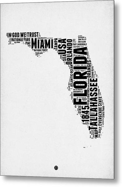Florida Word Cloud Map 2 Metal Print