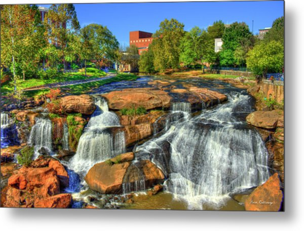 Flow On Reedy River Falls Park Art Greenville South Carolina Art Metal Print