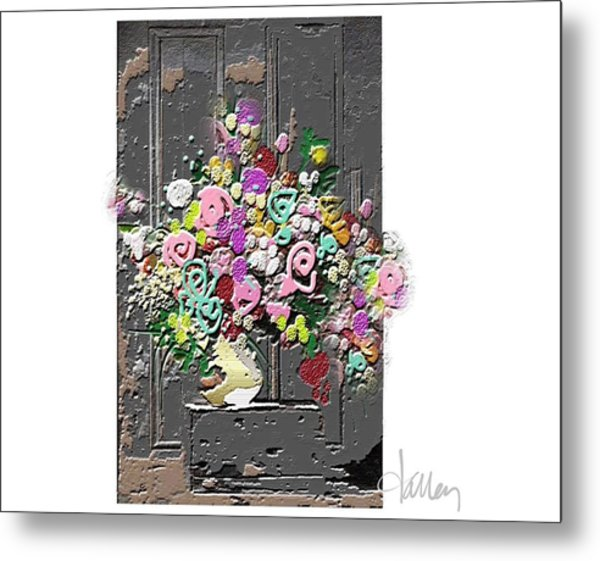 Metal Print featuring the mixed media Flower Arrangement by Larry Talley