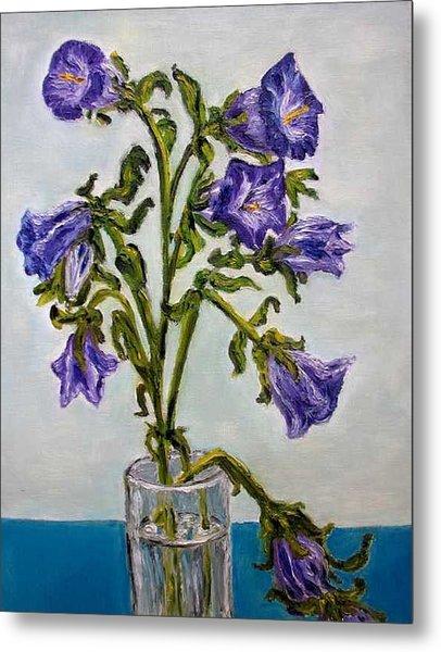Flower  Bluebells Original Oil Painting Metal Print by Natalja Picugina