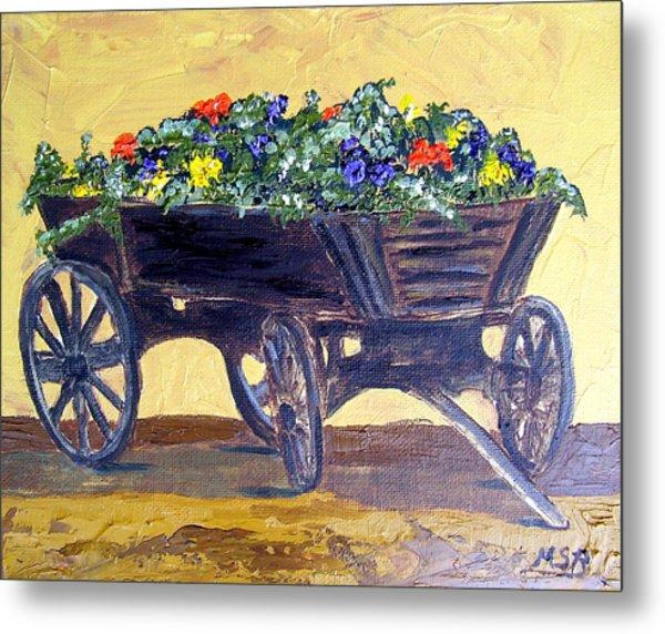 Flower Cart Metal Print by Maria Soto Robbins