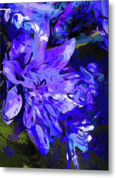 Flower Lavender Lilac Cobalt Blue Metal Print