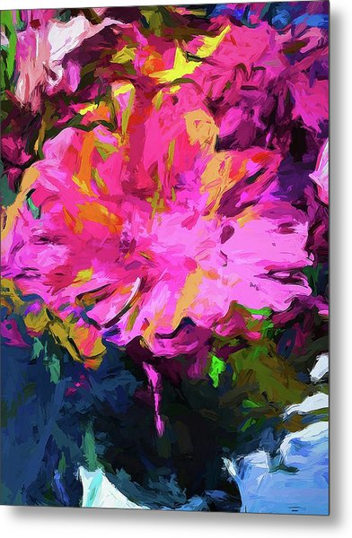 Flower Lolly Pink Yellow Metal Print